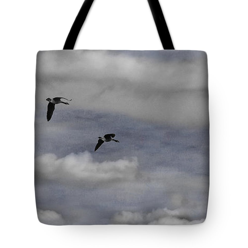 Maple Tote Bag featuring the photograph Geese In A Maple Sky by Wayne King