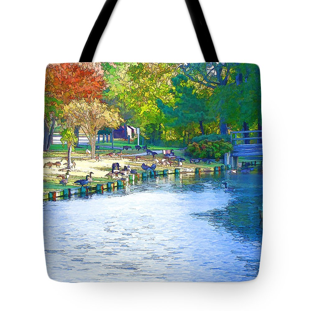Destination Tote Bag featuring the painting Geese In Pond 2 by Jeelan Clark