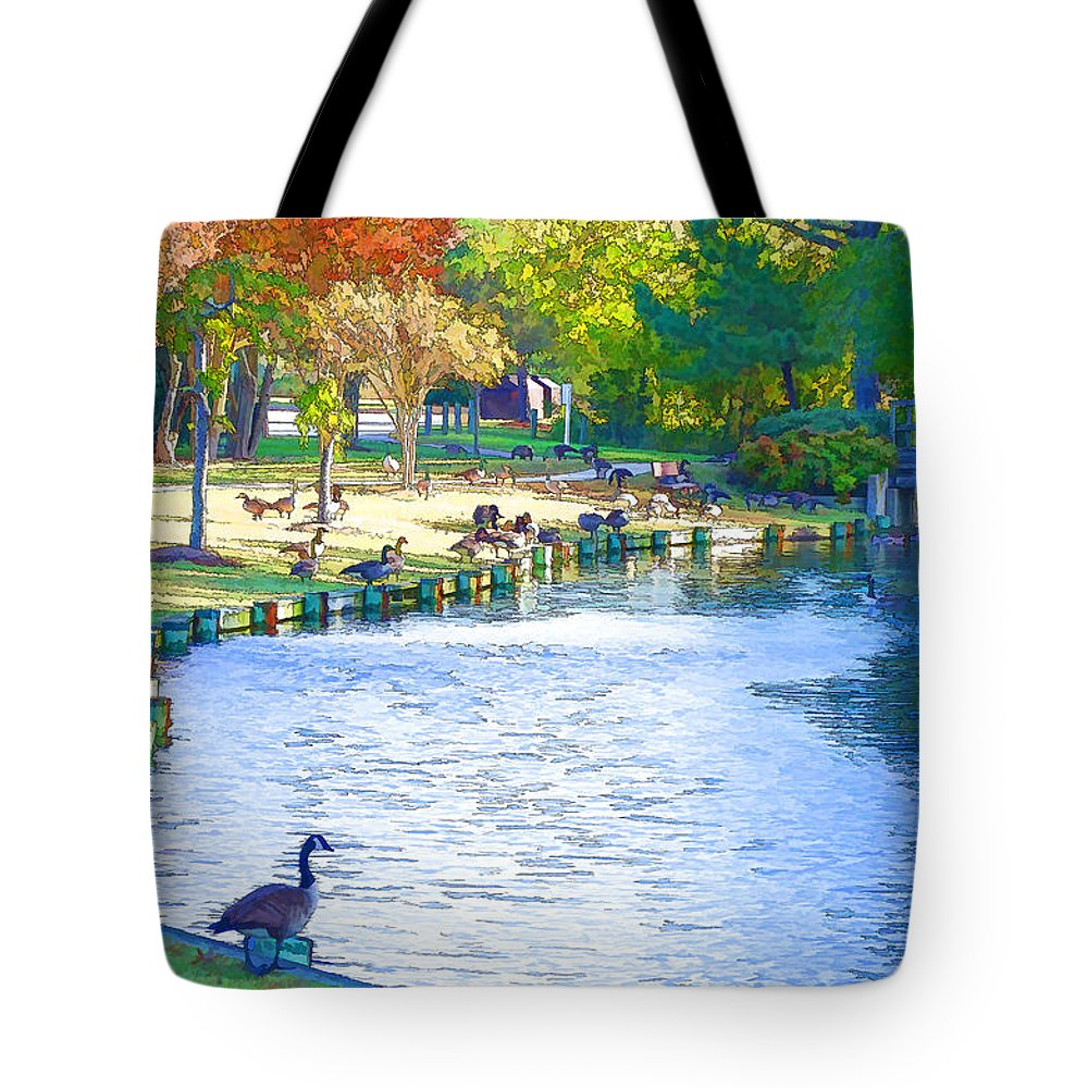 Destination Tote Bag featuring the painting Geese In Pond 3 by Jeelan Clark