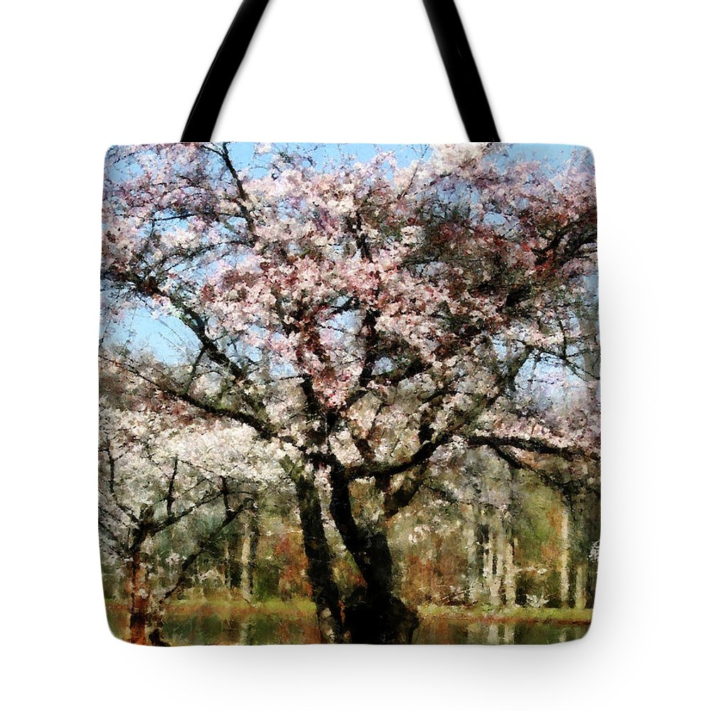 Spring Tote Bag featuring the photograph Geese Under Flowering Tree by Susan Savad