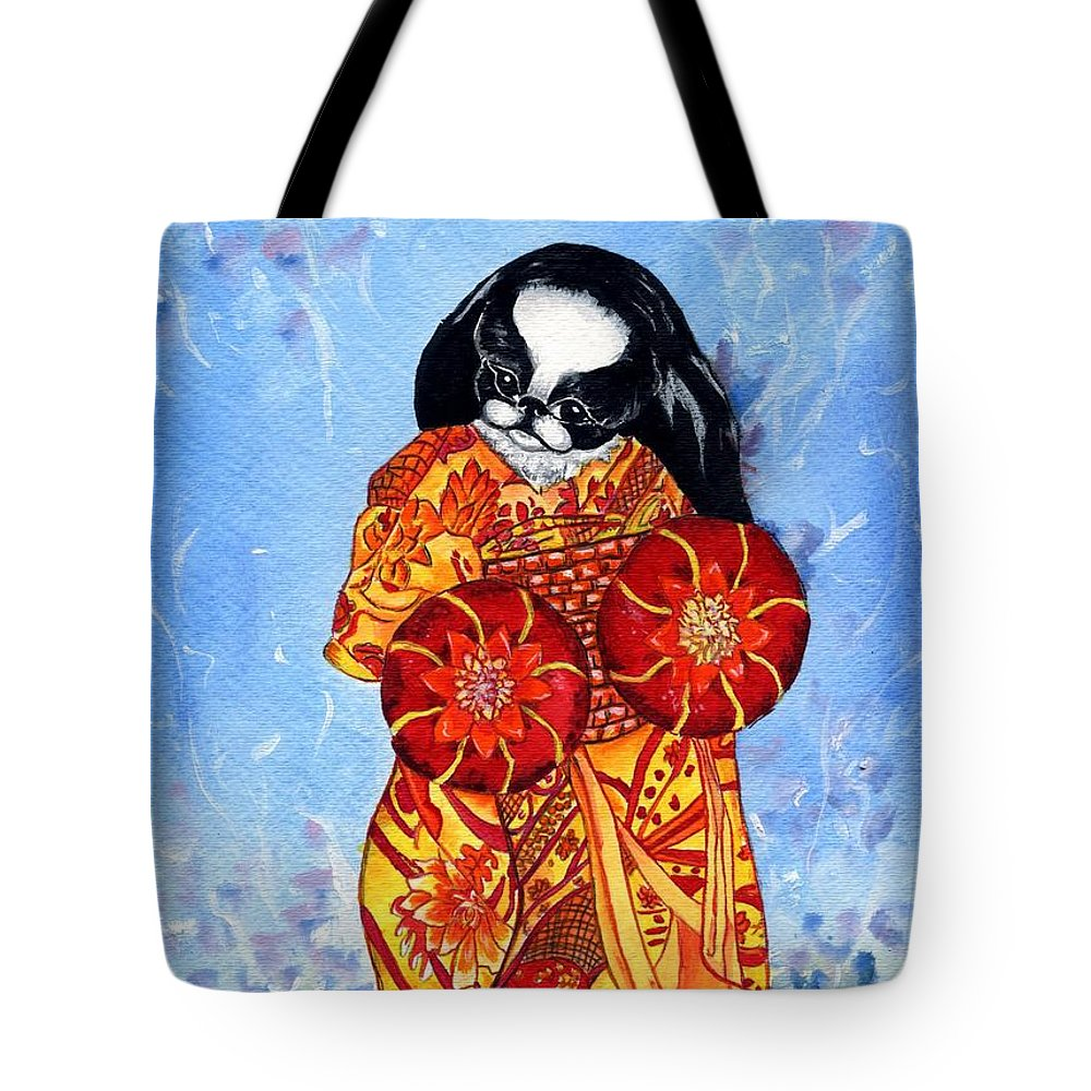 Japanese Chin Tote Bag featuring the painting Geisha Chin by Kathleen Sepulveda