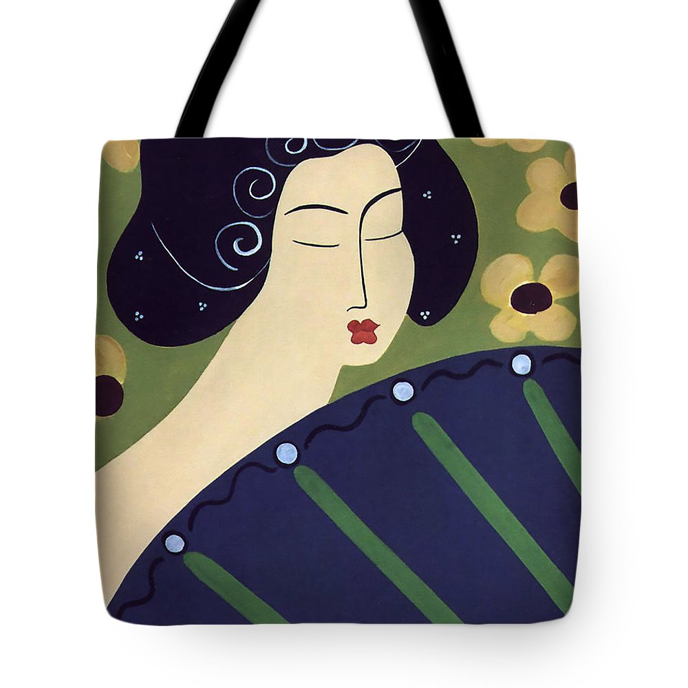 #japanese Tote Bag featuring the painting Geisha Doll by Jacquelinemari