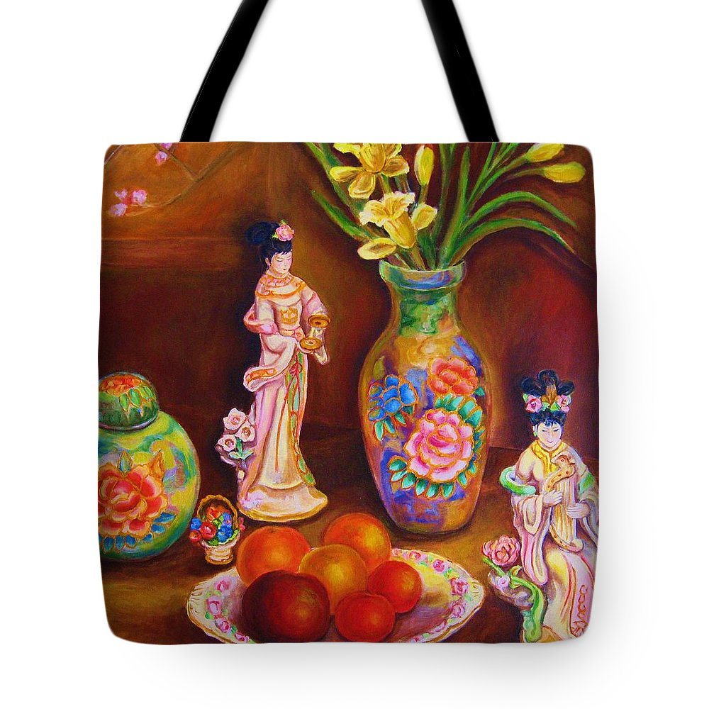 Geishas Tote Bag featuring the painting Geisha Dolls by Carole Spandau