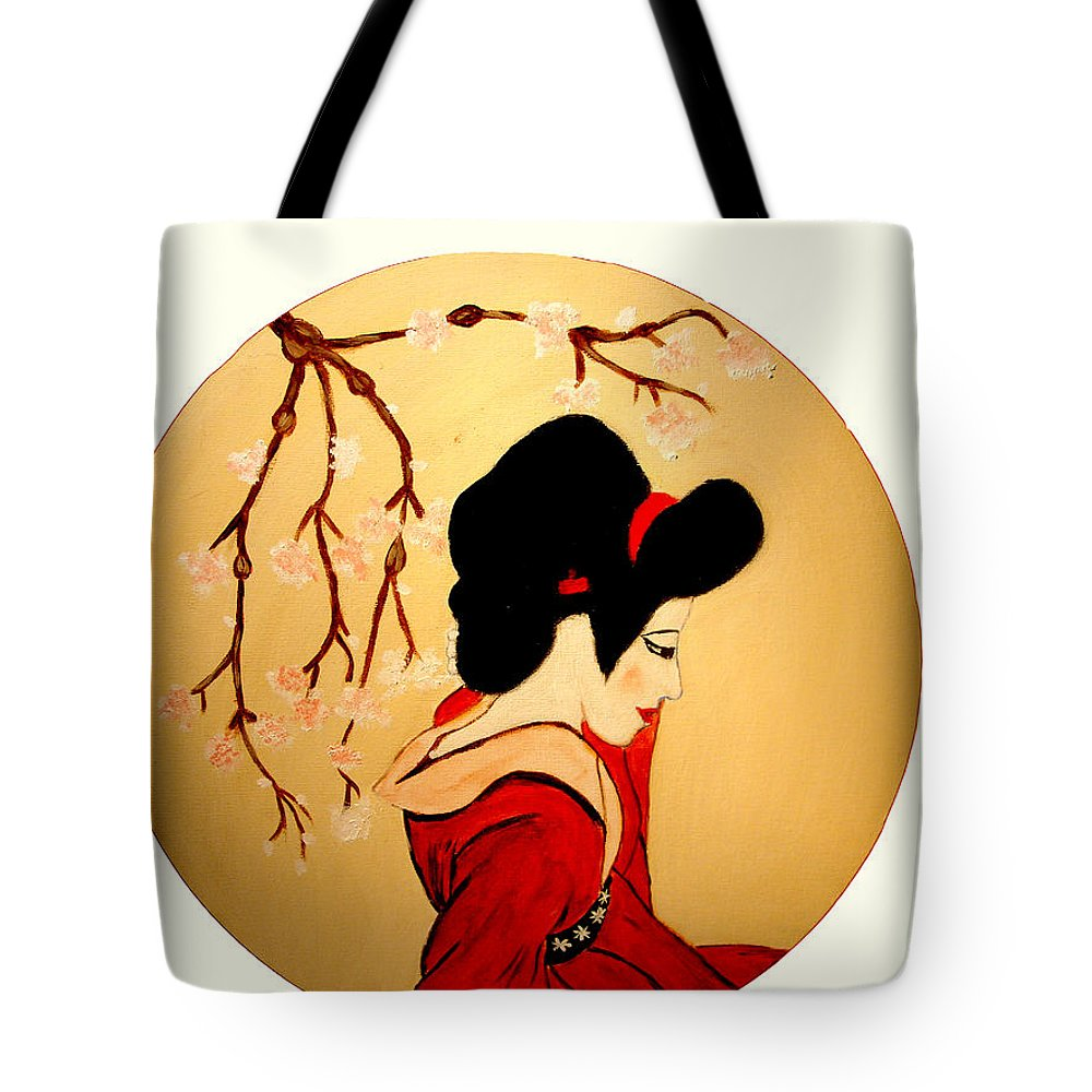 Geisha Girls Tote Bag featuring the painting Geisha Girl by Rusty Gladdish