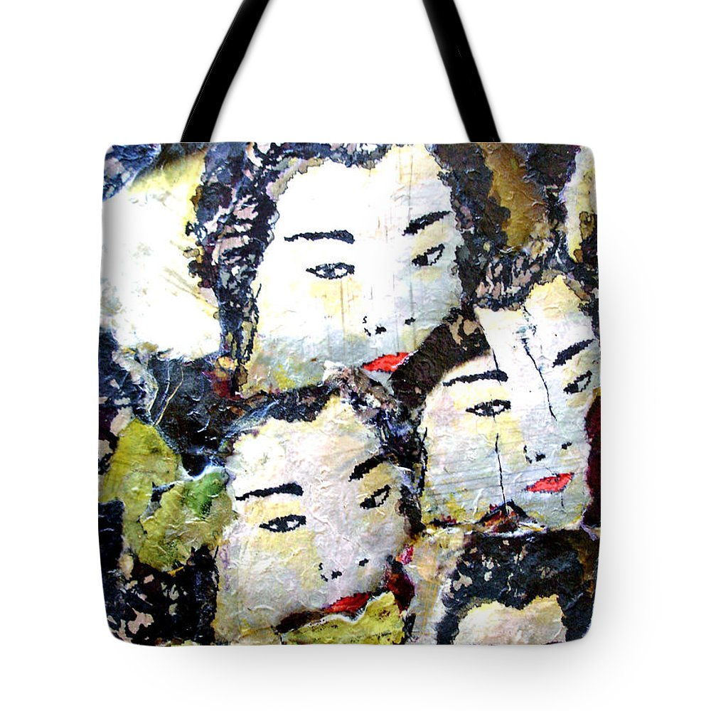 Geisha Girls Tote Bag featuring the mixed media Geisha Girls by Shelley Jones