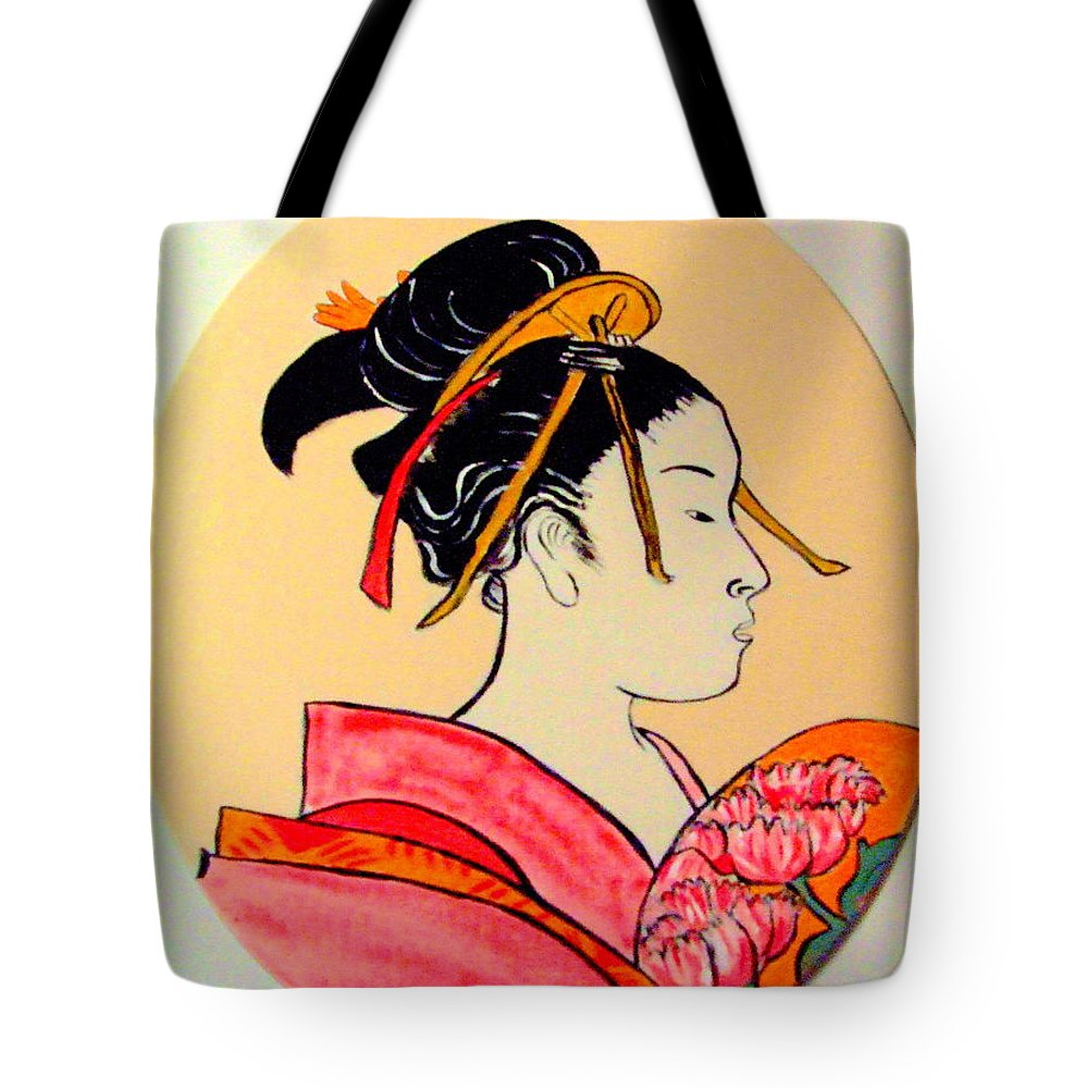 Geisha Girls Tote Bag featuring the painting Geisha In The House Of Pleasure by Rusty Gladdish