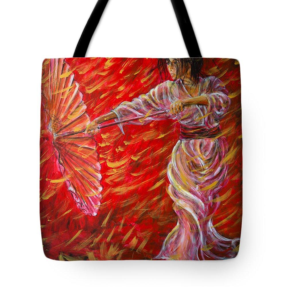 Geisha Tote Bag featuring the painting Geisha - Rain Dance 02 by Nik Helbig