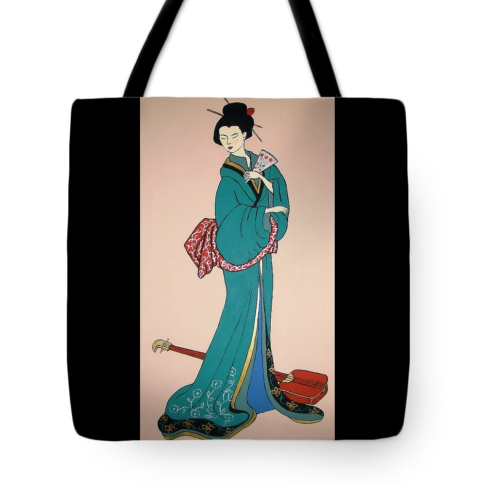 Geisha Tote Bag featuring the painting Geisha With Guitar by Stephanie Moore