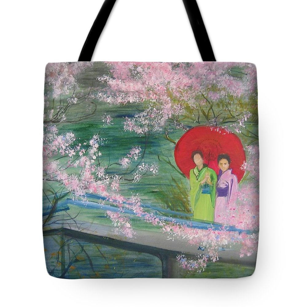 Landscape Tote Bag featuring the painting Geishas And Cherry Blossom by Lizzy Forrester