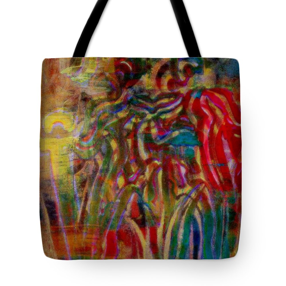 Gemini Tote Bag featuring the painting Gemini Abstract by Wbk