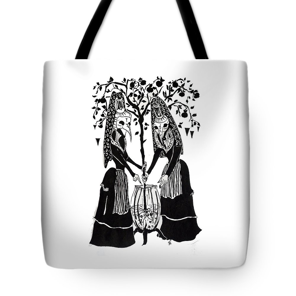 Gemini Tote Bag featuring the drawing Gemini by Justell Vonk