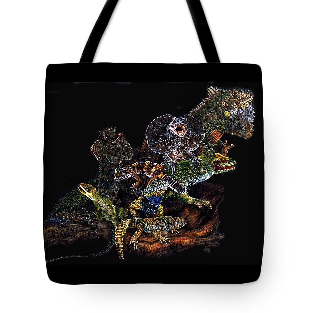 Lizards Tote Bag featuring the drawing Gems And Jewels by Barbara Keith