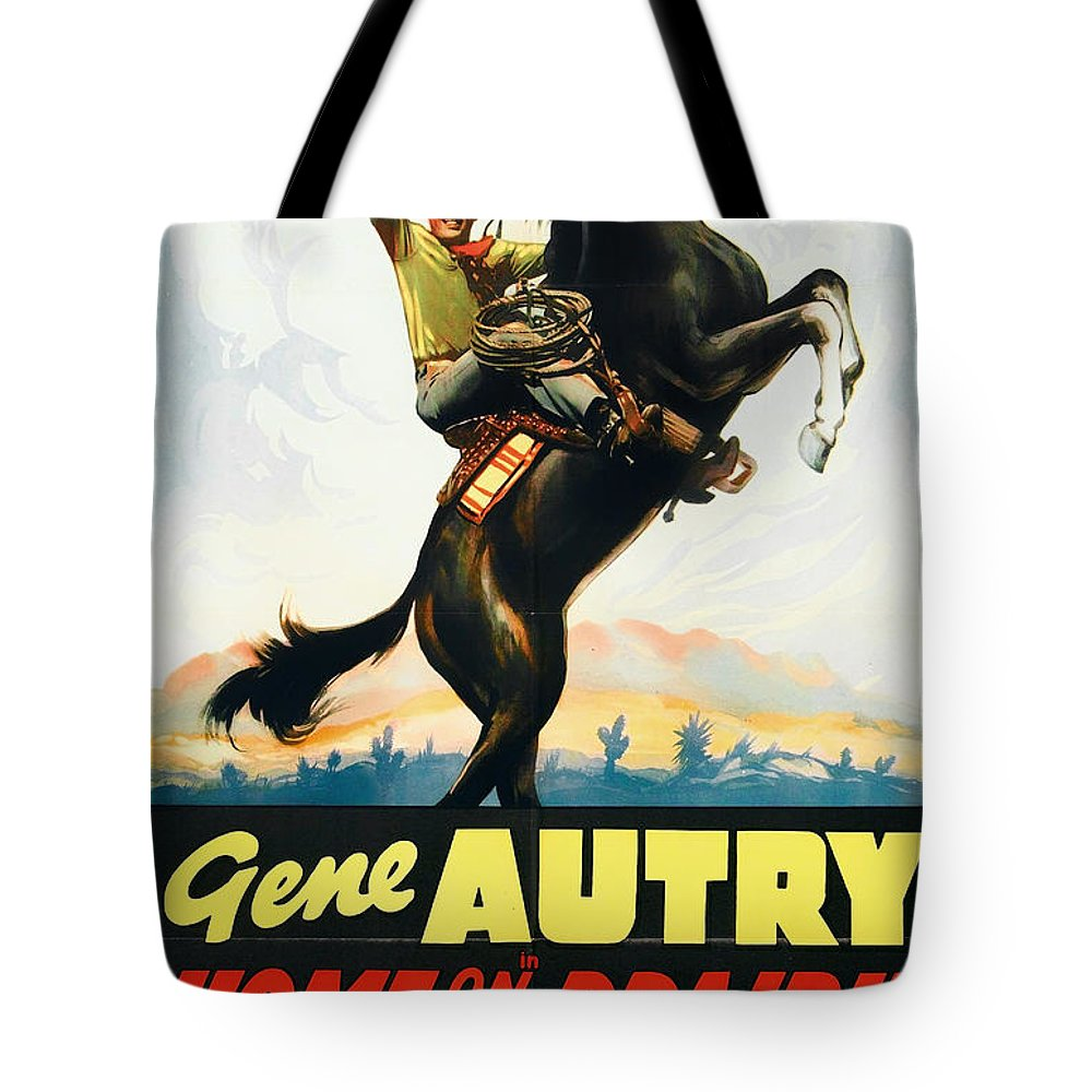 Movie Tote Bag featuring the mixed media Gene Autry In Home On The Prairie 1939 by Mountain Dreams