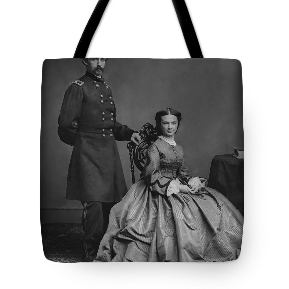 George Armstrong Custer Tote Bag featuring the painting General Custer And His Wife Libbie by War Is Hell Store