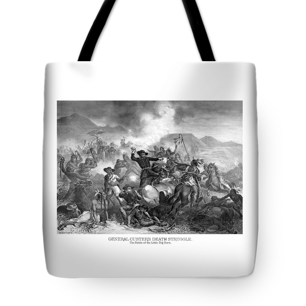 General Custer Tote Bag featuring the drawing General Custer's Death Struggle by War Is Hell Store