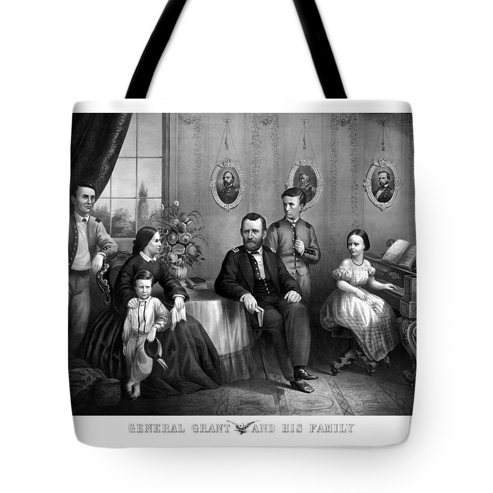 General Grant Tote Bag featuring the mixed media General Grant And His Family by War Is Hell Store