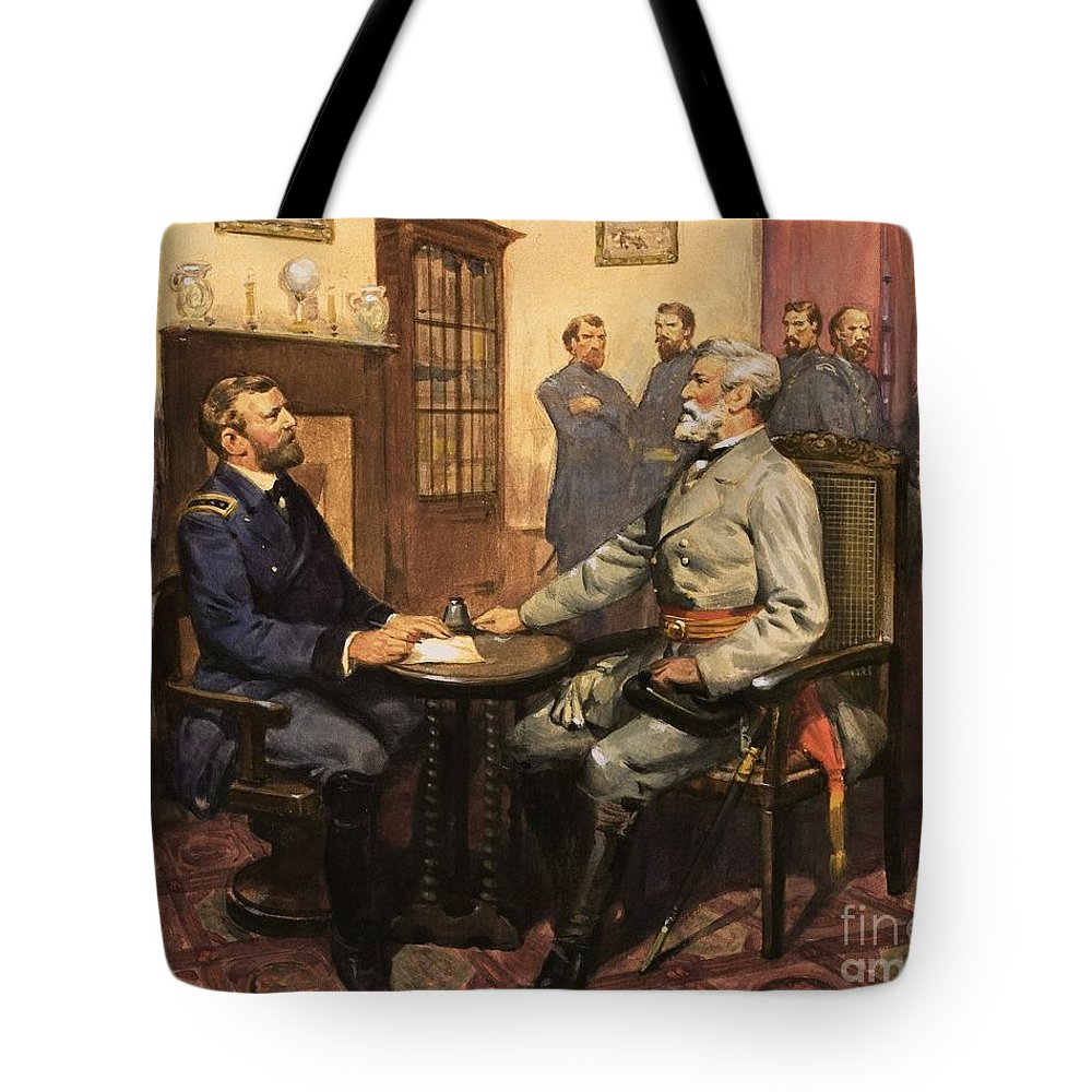 General Grant Meets Robert E. Lee By English School (20th Century) Great Commanders: Hero Of The Southland. General Grant Meets Robert E. Lee. America; Army; Soldiers; American; Flag; American Civil War; Robert E Lee; General Grant; Surrender; Confederate; Union; Us Tote Bag featuring the painting General Grant Meets Robert E Lee by English School
