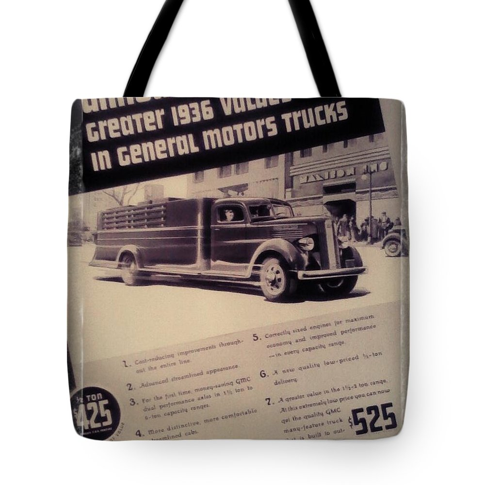 Vintage Advertisement Tote Bag featuring the photograph General Motor Truck Trailer by Trendy Farmhouse