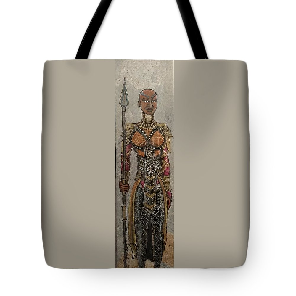 General Okoye Of Wakandian Elite Forces Tote Bag featuring the painting General Okoye Of The Wakandian Elite Forces  by Kevin F Bell