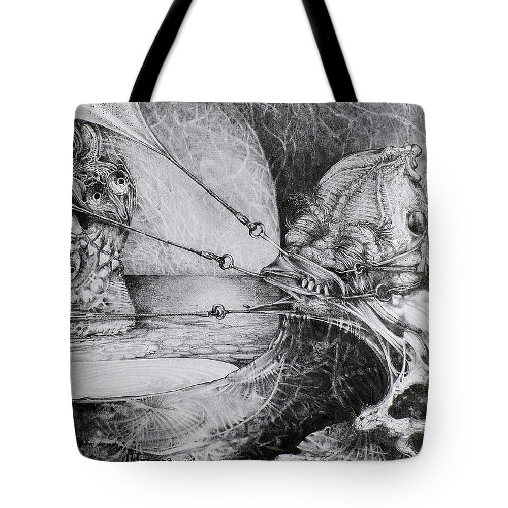 Surrealism Tote Bag featuring the drawing General Peckerwood In Purgatory by Otto Rapp