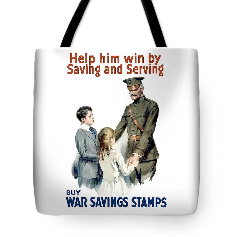 General Pershing Tote Bag featuring the painting General Pershing - Buy War Saving Stamps by War Is Hell Store