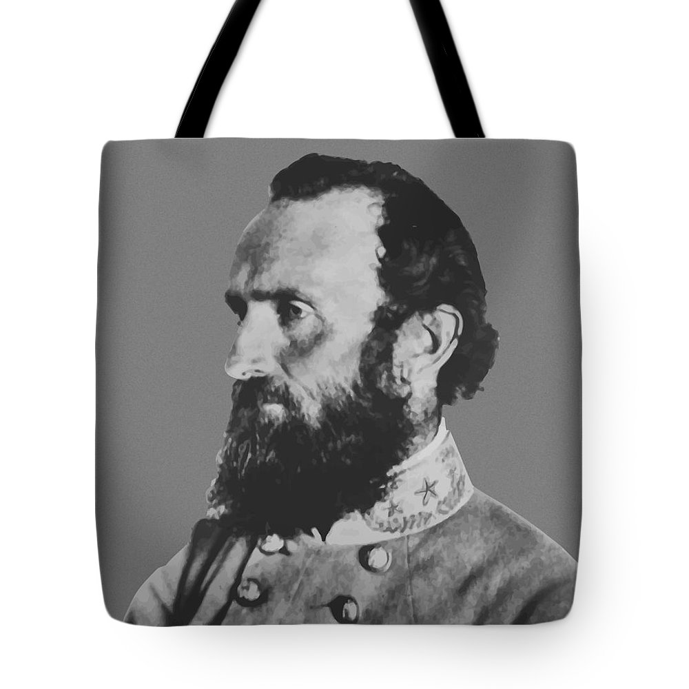 Stonewall Jackson Tote Bag featuring the painting General Stonewall Jackson Profile by War Is Hell Store