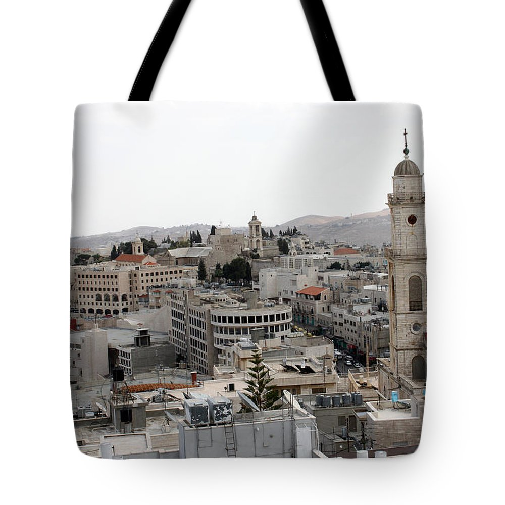 Bethlehem Tote Bag featuring the photograph General View Of Bethlehem 2009 by Munir Alawi