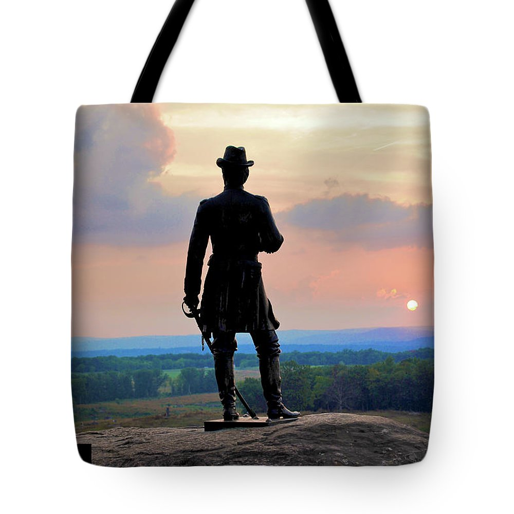 Gettysburg Tote Bag featuring the photograph General Warren At Sunset by Jen Goellnitz