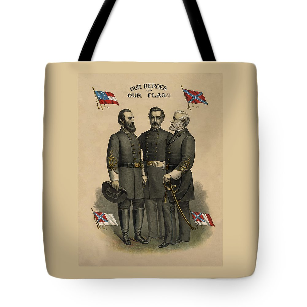 Confederate Tote Bag featuring the painting Generals Jackson Beauregard And Lee by War Is Hell Store