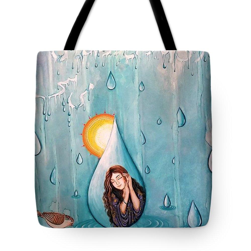Tote Bag featuring the painting Rain by Fatemeh RezaeeFar