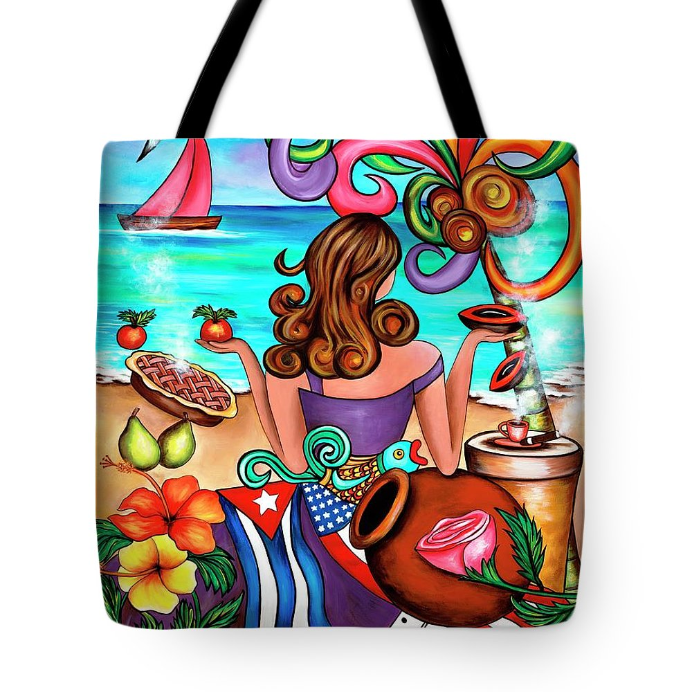 Cuba Tote Bag featuring the painting Generation Spanglish by Annie Maxwell