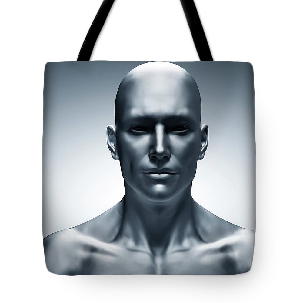 generic human man face front view futuristic tote bag for sale by