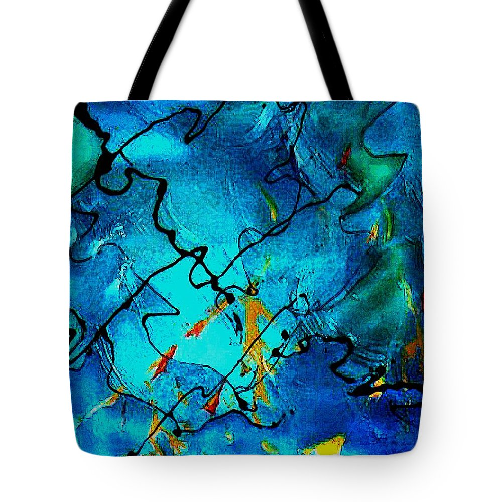 Blue Tote Bag featuring the painting Genes by Gloria Dietz-Kiebron