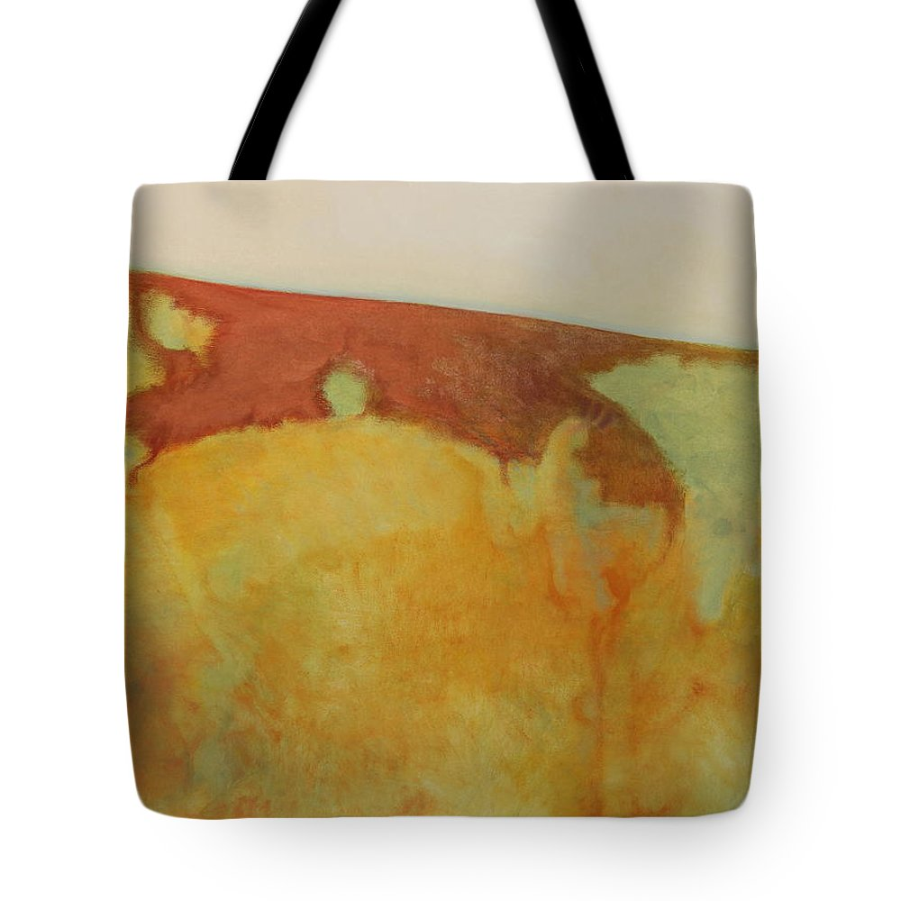 Tom Brooks Tote Bag featuring the painting Genesis by Tom Brooks