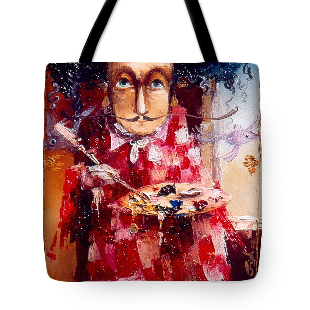Genius Tote Bag featuring the painting Genius by Gia Chikvaidze