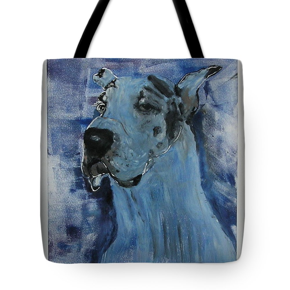 Great Dane Tote Bag featuring the mixed media Gentle Giant by Cori Solomon