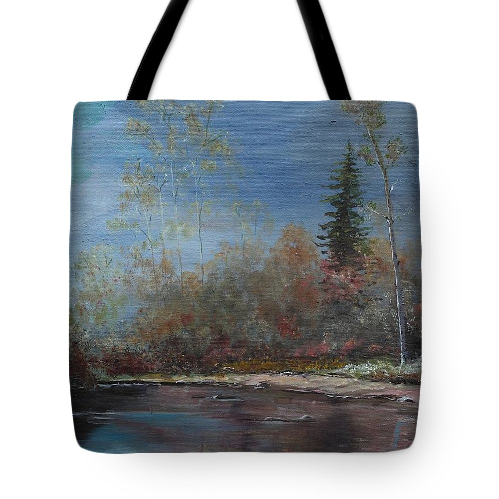 River Tote Bag featuring the painting Gentle Stream - Lmj by Ruth Kamenev