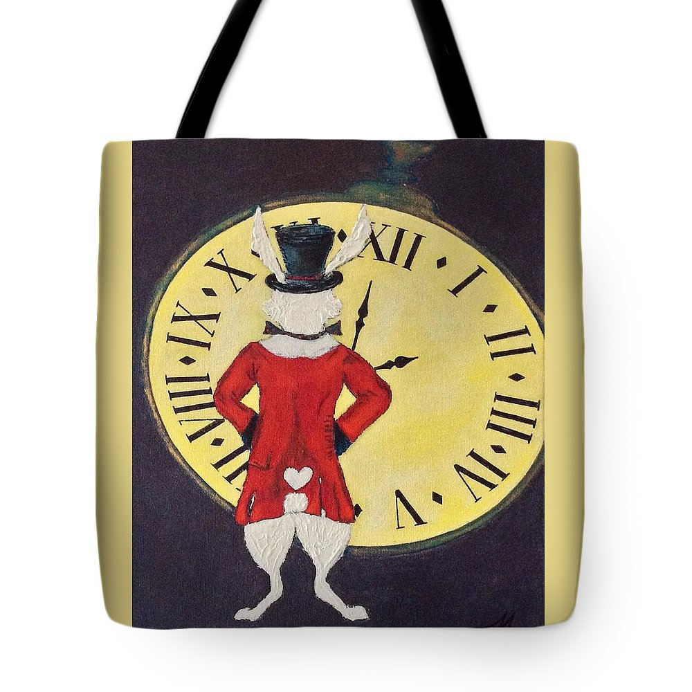 Rabbit Tote Bag featuring the painting Gentleman Caller by Mary Papageorgiou