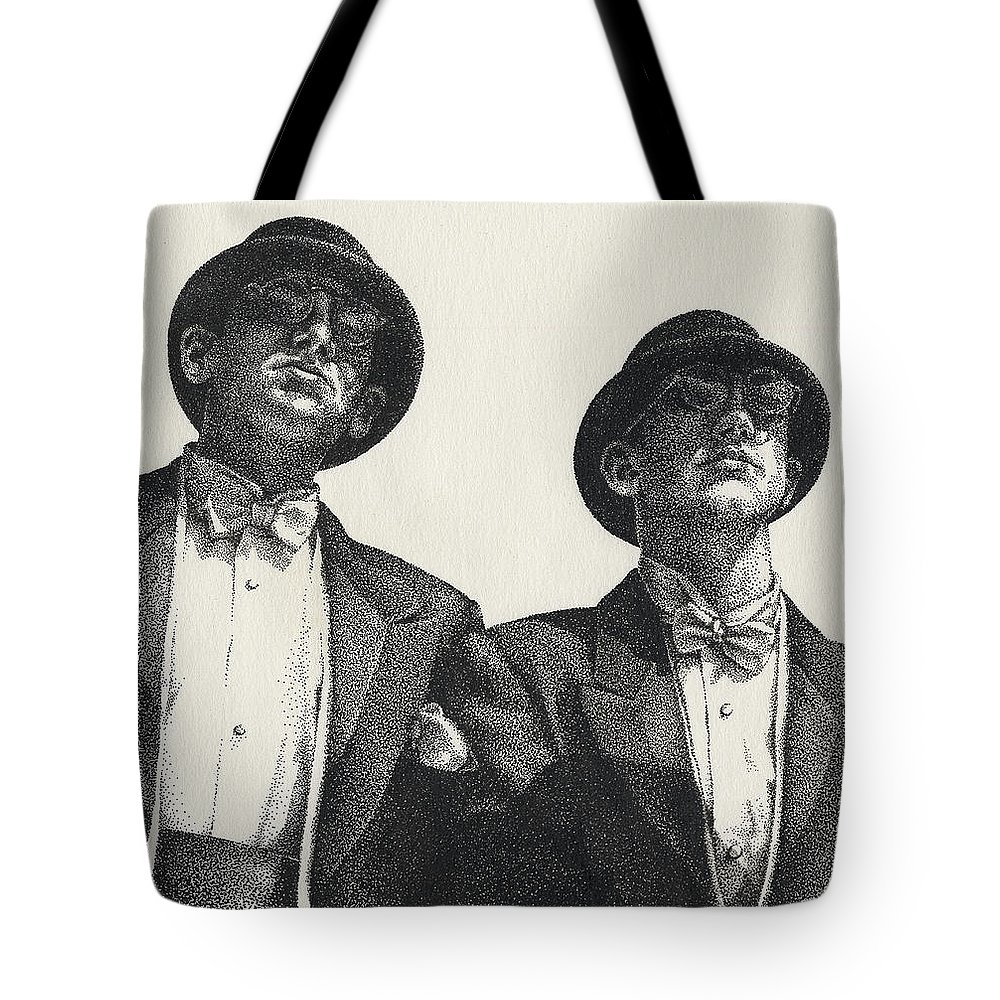 Male Tote Bag featuring the drawing Gents by Amy S Turner