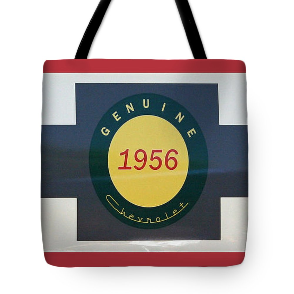 Chevy Tote Bag featuring the photograph Genuine 1956 Chevrolet by Gwyn Newcombe