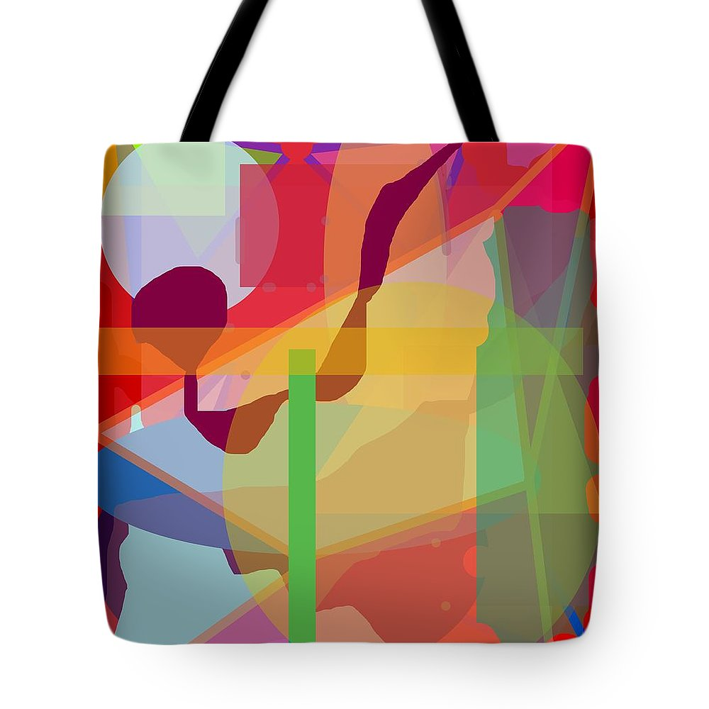 Abstract Tote Bag featuring the painting Geo Frenzy by Pharris Art