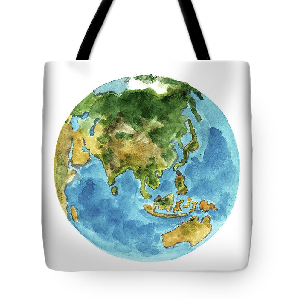 Planet earth colors geography world map australia new zealand painting tote bag featuring the painting planet earth colors geography world map australia new gumiabroncs Choice Image
