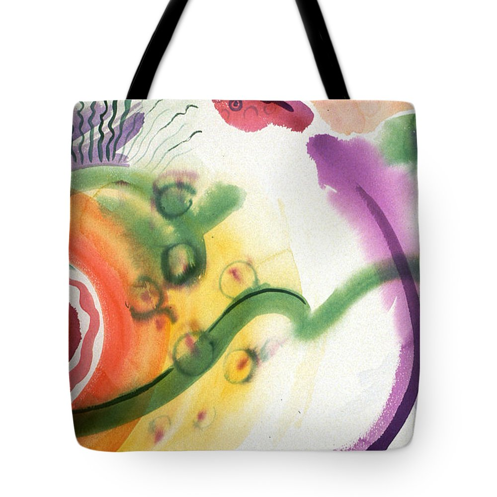 Abstract Tote Bag featuring the painting Geomantic Blossom Ripening by Eileen Hale