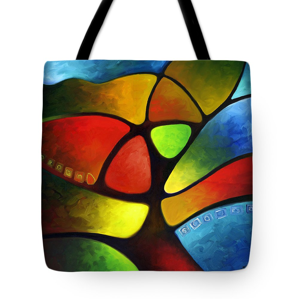 Tree Tote Bag featuring the painting Geometree by Sally Trace