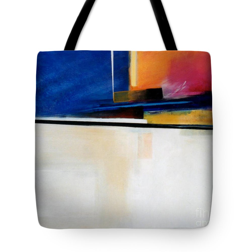 Abstract Tote Bag featuring the painting Geometrics 4 Lights Out by Marlene Burns