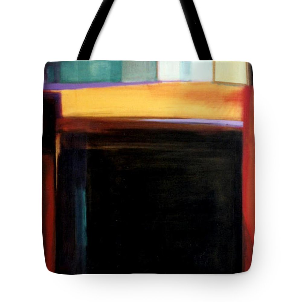 Abstract Tote Bag featuring the painting Geometrics 4 Loose Ends by Marlene Burns