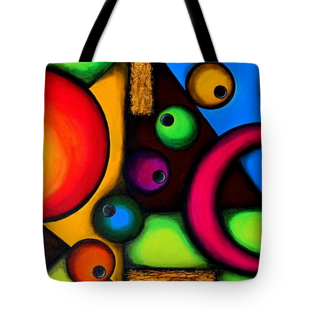 Abstract Tote Bag featuring the painting Geometry by Bijna Balan