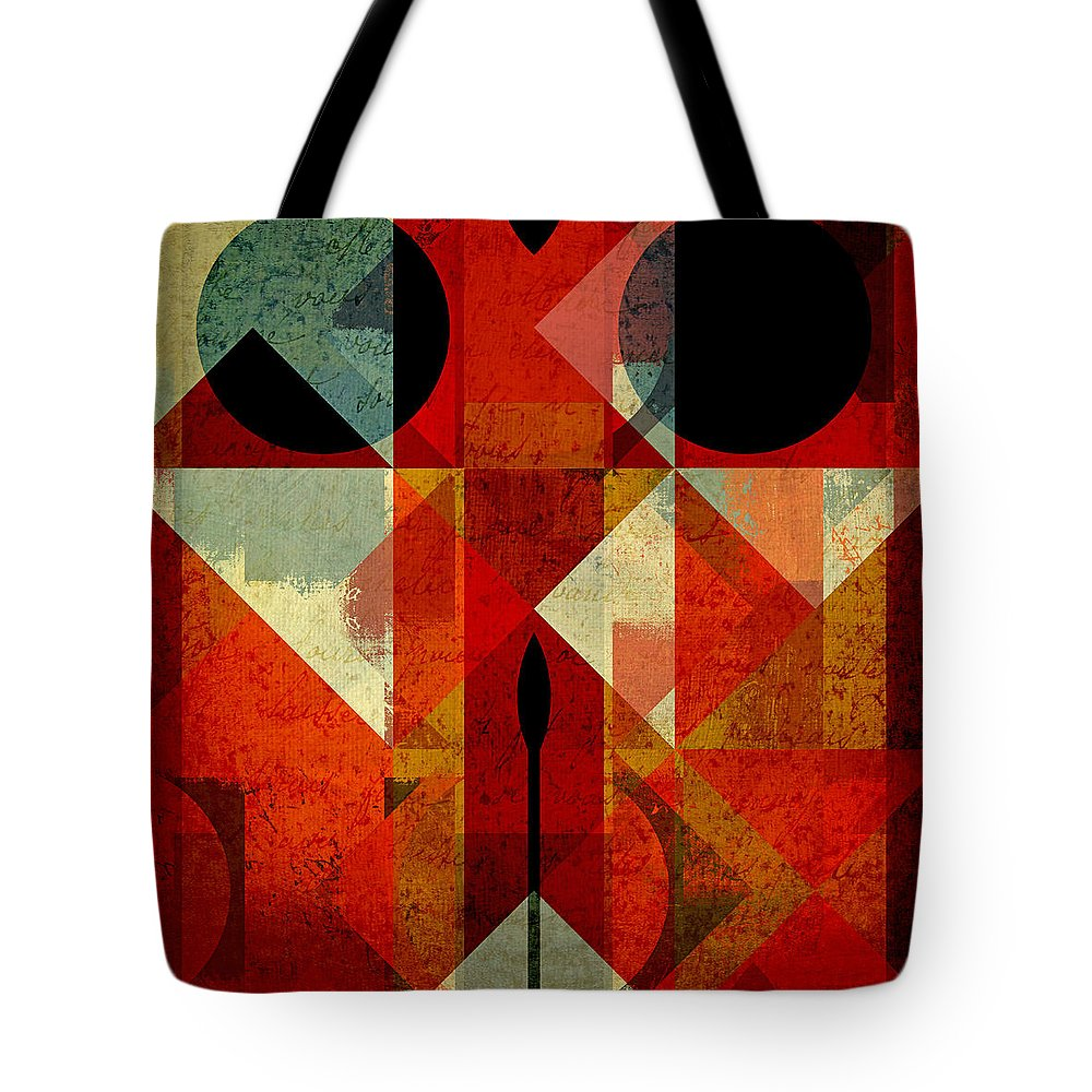 Abstract Tote Bag featuring the digital art Geomix-04 - 39c3at22g by Variance Collections