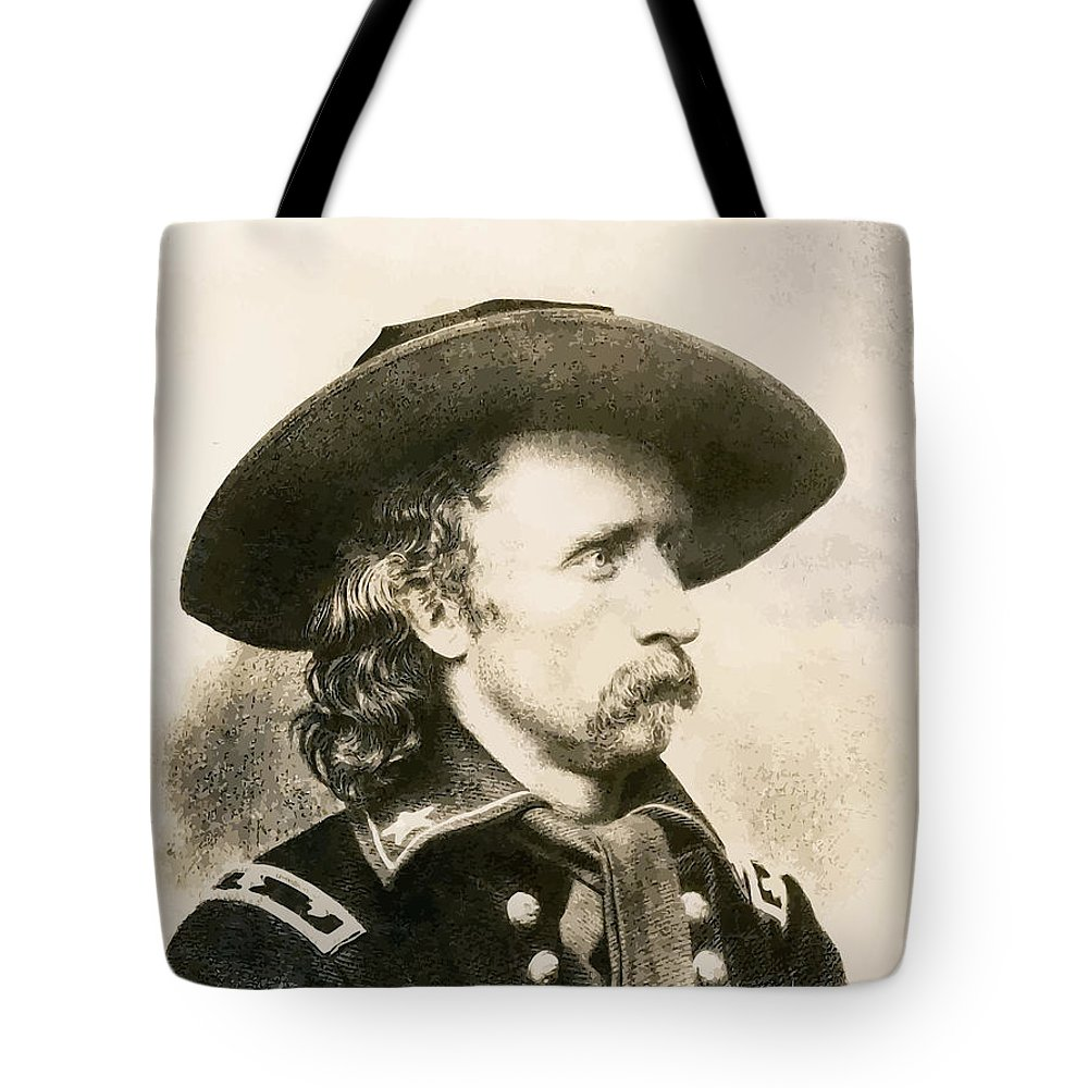 Custer Tote Bag featuring the painting George Armstrong Custer by War Is Hell Store