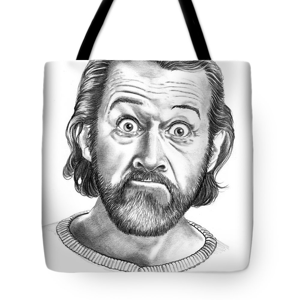 Portrait Tote Bag featuring the drawing George Carlin by Murphy Elliott